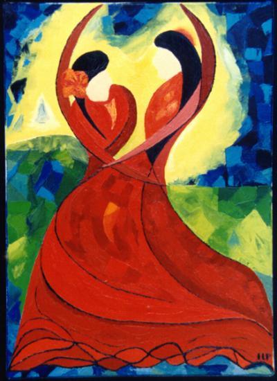 016.0Sevillanes  1993  (huile sur toile 46 x 33 cm )