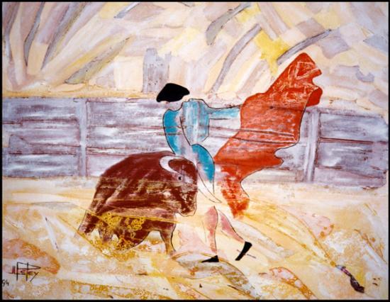016 Tauromachisme  IV   1994  (huile sur toile 60 x 50 cm)