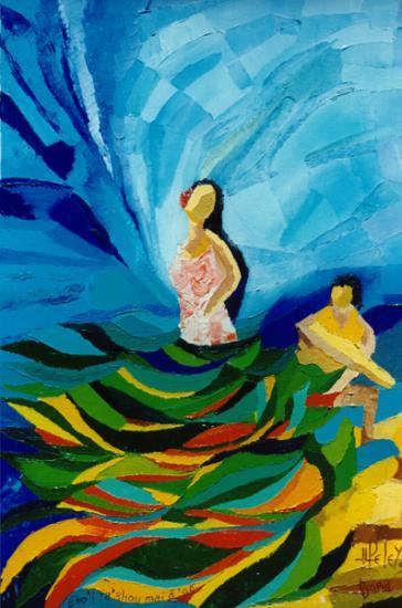 025 EHO'I TA ' AHOU MAI à 'OE  1999  (hst: 38 x 55cm)