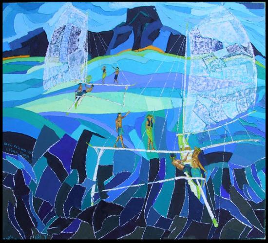 090 Retour à BoraBora h sur toile 73x81cm 2004