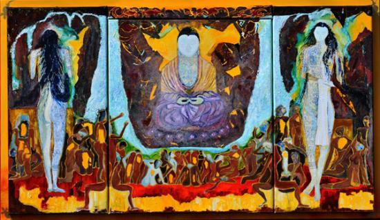 174 le bouddah et ses muses ( tryptique)